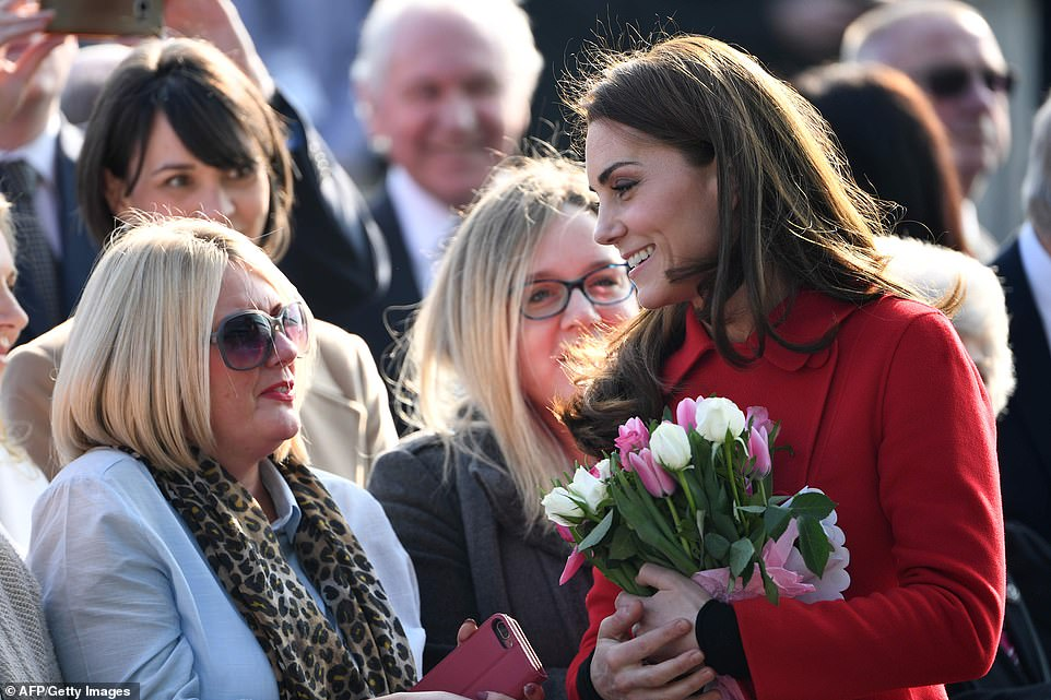 The Duchess of Cambridge looked very relaxed as she chatted to well-wishers who had waited to see the royal couple