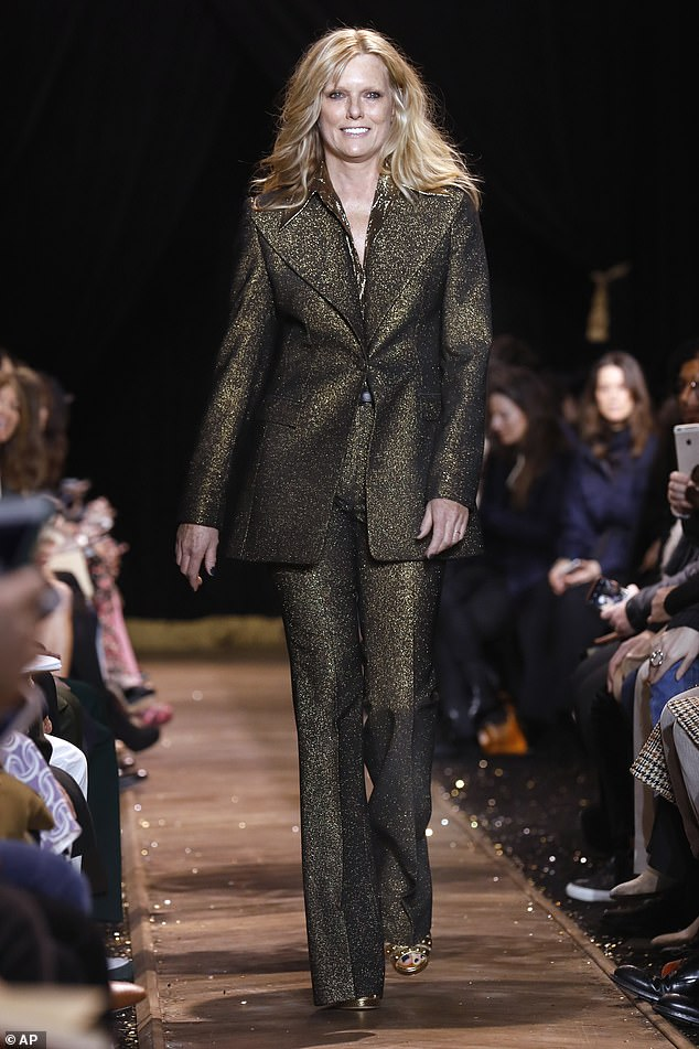 While sisters Bella and Gigi Hadid walked for designer Michael Kors earlier this month in the Big Apple, it was Patti Hansen, 62, who closed - and stole - the show in an iridescent trouser suit of black and gold
