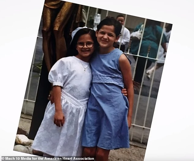 Kelli has not had any heart problem since. Amanda  currently takes five different pills and monitors her blood pressure twice a day. Pictured: Kelli, left and Amanda, as children