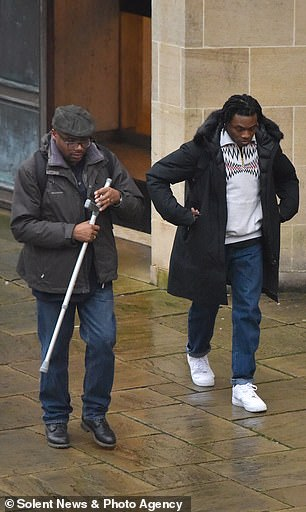 Ceon Broughton arrives at court supported by his father, Dave