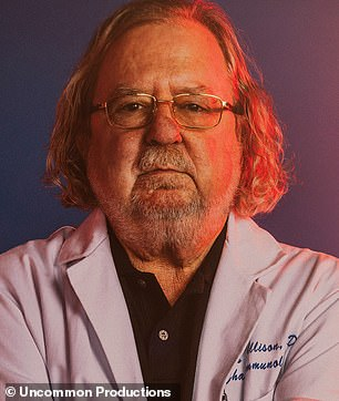 James Patrick Allison, 70, was born in Alice, Texas in 1948 to a physician father and homemaker mother; he was the youngest of three sons and became interested in science at a very early age - initially making explosive devices to set off in the woods before he realized 'what science really was and how to do it' and 'started doing more intelligent things,' he says in new documentary Breakthrough: This Is What A Hero Looks Like