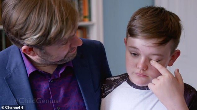 Ben is comforted by his father David as fans watching at home urged the youngster to be proud of himself, with one tweeting: 'Ben mate! Calm down son! You did amazing mate'