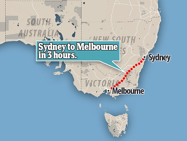 The high-speed bullet train could reduce the travel time from to Sydney to Melbourne from 11 hours to only three hours