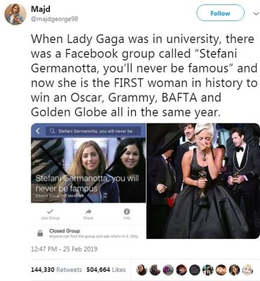 Last laugh: A fan listed the achievements of Gaga as she took to Twitter with a screenshot of the cruel group alongside a throwback snap of her and a recent one of her with an Oscar
