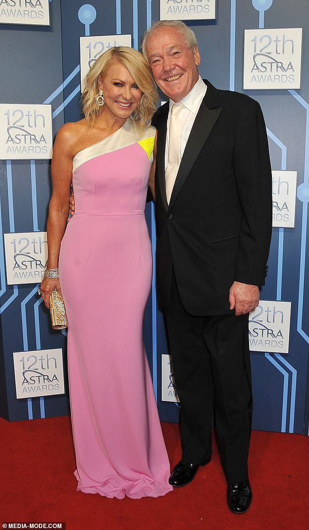 Supportive: John Kennerley, who died on Wednesday aged 78, helped  Kerri-Anne leave her violent first husband, American record producer Jimmy Miller (pictured, John and Kerri-Anne in 2014)