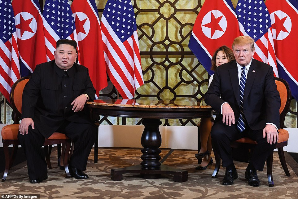 President Donald Trump and North Korean dictator Kim Jong Un resumed their summit in Hanoi on Thursday morning local time – as Trump predicted a 'fantastic success' but Kim said it was 'too early' to say they would reach a deal