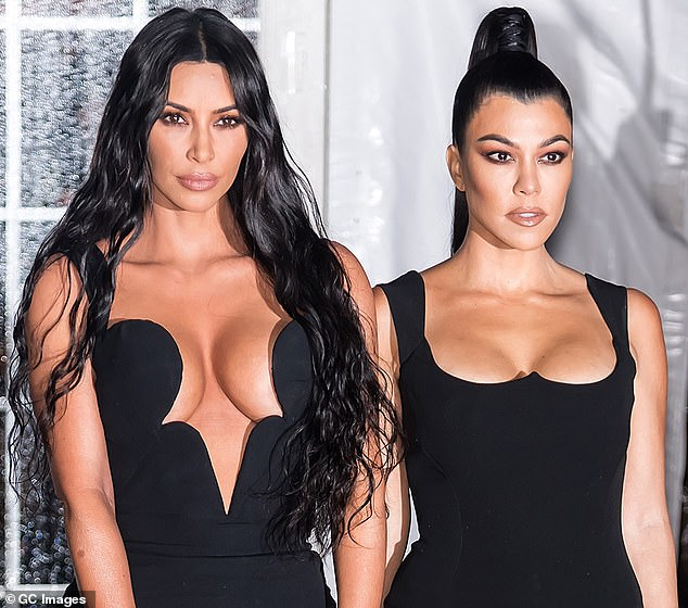 The usual: Kim and Kourtney are pictured as they more typically look, attending the amfAR New York Gala 2019 at Cipriani Wall Street earlier this month