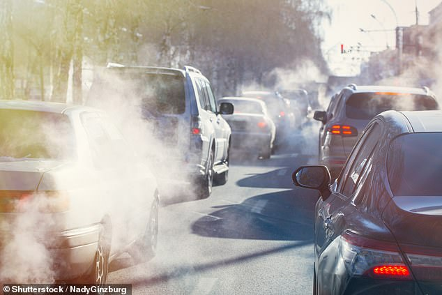 Research by campaign group Friends of the Earth yesterday revealed more than 1,800 roads in the UK have pollution levels above the World Health Organization's safe limit (stock image)