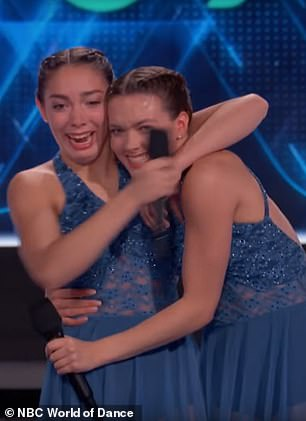 Delighted! Thrilled with the score they awarded by the judges, Ellie and Ava smiled and hugged each other on stage
