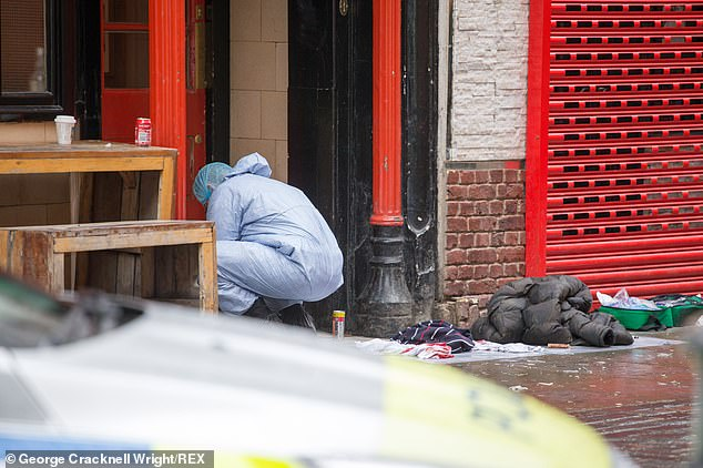 Clothes can be seen cast aside at the scene of the incident on Sunday morning