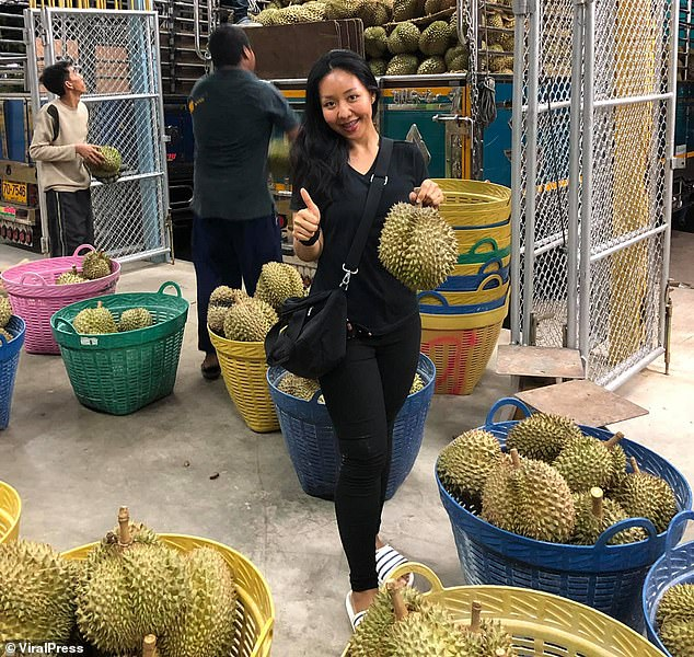 Heiress: The 26-year-old helps her father on the family's multi-million pound durian farm