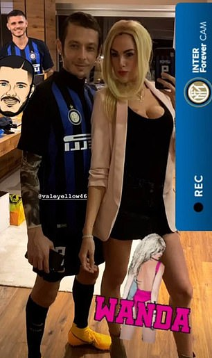 Moto GP star Valentino Rossi and his girlfriend dressed up as Mauro Icardi and wife Wanda