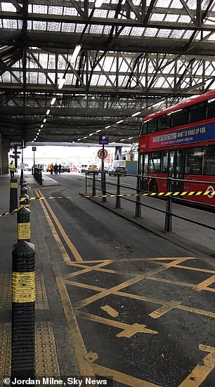 Forensics experts were seen at Waterloo yesterday afternoon, where a suspicious package was sent