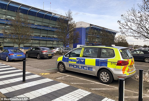 A police car at the scene at Compass Centre, Heathrow Airport as police deal with a suspicious package on Tuesday