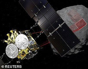 The moment of truth: A computer graphic handout image shows Japan Aerospace Exploration Agency's Hayabusa 2 probe arriving at asteroid Ryugu and honing-in on theminor planet