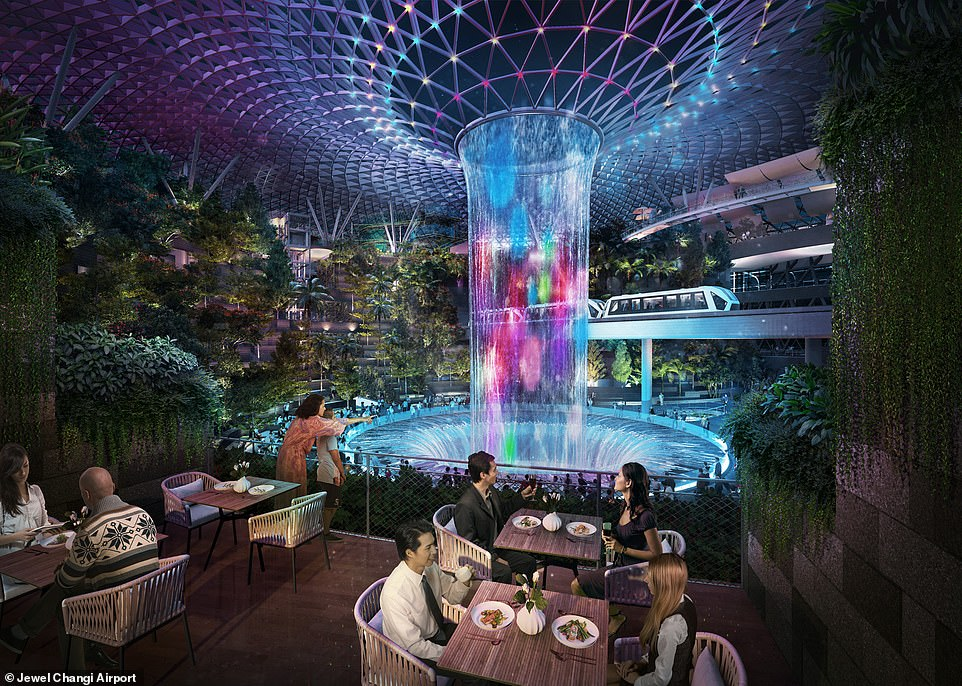 Surrounding the waterfall will be a whole array of restaurants as well as almost 300 shops. The complex directly links to Changi Airport's Terminals 1, 2 and 3