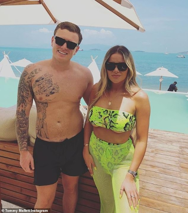 Cute couple:Although Georgia was not seen with her beau, Tommy later shared a snap of the pair soaking up the sun at a beach club
