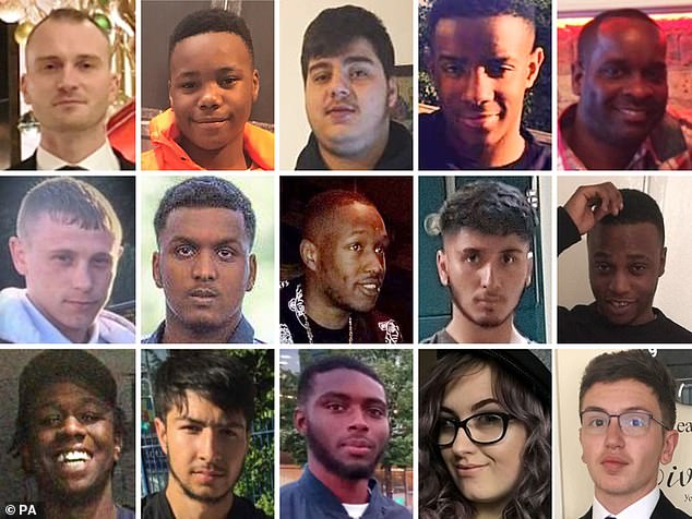 Composite picture of some of the people who have lost their lives to knife crime this year. Top row, from left: Tudor Simionov, Jaden Moodie, Nedim Bilgin, Lejean Richards, Dennis Anderson. Middle row, from left: Patrick Hill, Sidali Mohamed, Bright Akinleye, Abdullah Muhammad, Glendon Spence. Bottom row, from left: Kamali Gabbidon-Lynck, Hazrat Umar, Che Morrison, Jodie Chesney, Yousef Ghaleb Makki