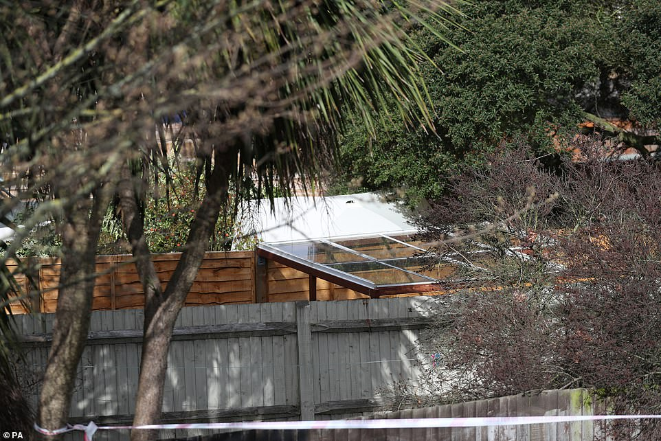 A forensic tent was spotted in the garden of the house in Kew where the body of Ms Garcia-Bertaux was discovered