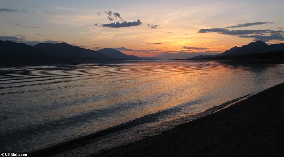 A view from one of Adam's camps along the side of the Yukon River with the sun setting