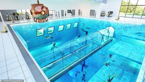The pool, seen here in an artist's impression, is to open in Poland in the autumn with a water volume equivalent to 27 normal swimming pools