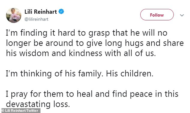 Lost: Lili Reinhart, 22, admitted to followers on Twitter she was having a hard time handling the recent news of Luke's passing