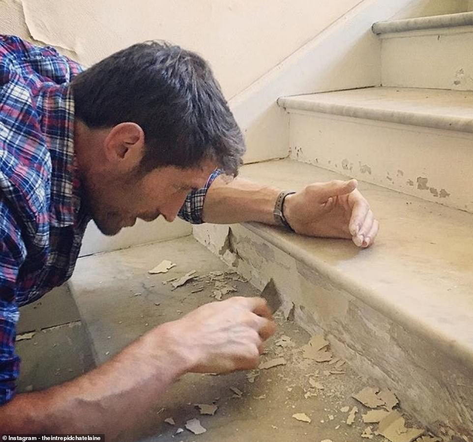JB doing some plastering and painting on the staircase.The sprawling Château de Bourneau and its 16-hectare grounds are built above the ruins of a medieval town square which were inhabited until 1789; it was abandoned during the French Revolution before being rebuilt in the 19th century