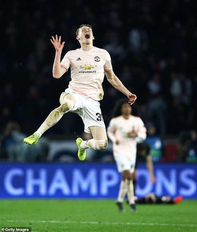 One source said that the man, along with three other passengers, was singing loudly at the party when the taxi driver suddenly stopped and stabbed the 44-year-old. In the picture: Scott McTominay celebrates last night