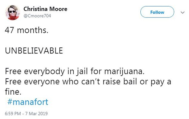 Many pointed out that people have served longer jail times for less serious crimes like marijuana possession or stealing quarters