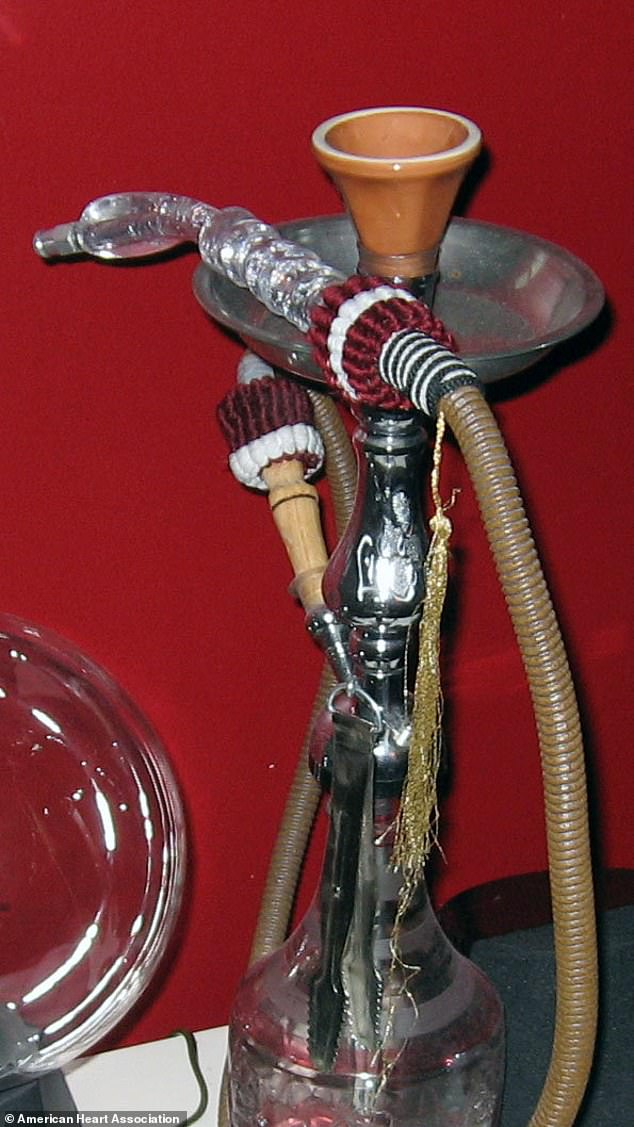 Shisha usually consists of a bowl that holds tobacco and is attached to hose that leads from a body of water to a mouthpiece (pictured). Researchers said the water promotes ultrafine particle formation