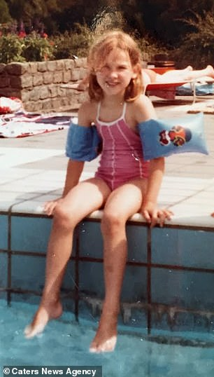 A young and healthy Ms Verbeek pictured with both legs before her fateful brush with bacterial meningitis