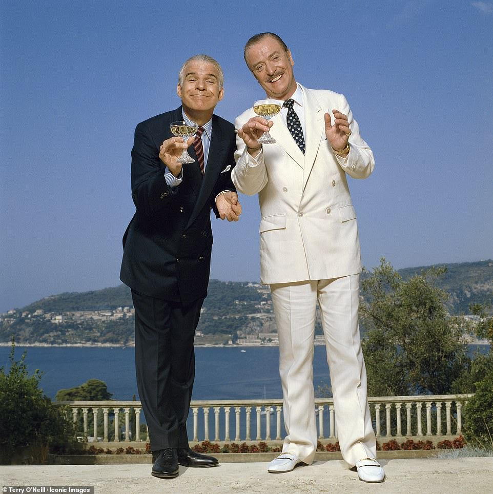 Actors Steve Martin and Michael Caine posed for Terry O'Neill during the filming of Dirty Rotten Scoundrels in France in 1988. In the comedy, the two stars play competing con artists