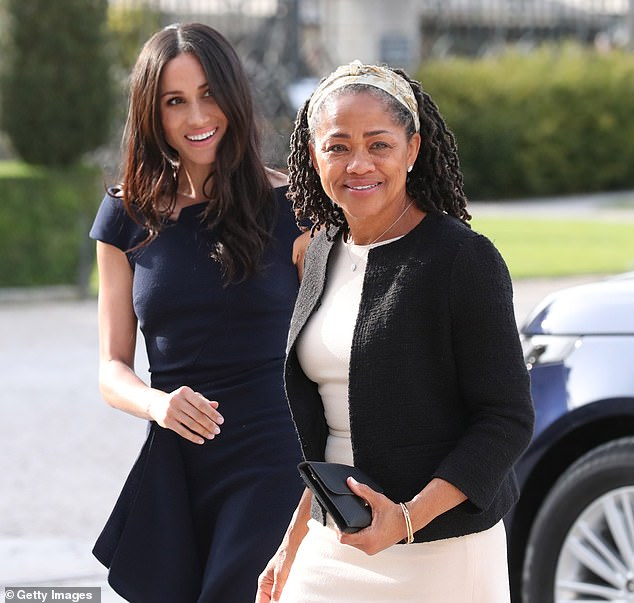 Meghan Markle (with her mother, Doria Ragland), arriving at Cliveden House Hotel shortly before her marriage to Prince Harry