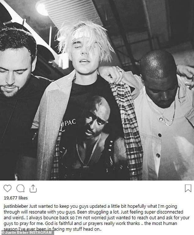 Struggling: Justin took to Instagram to give his fans an update on how he is doing in a candid post alongside a 2016 photo showing him in prayer with Kanye West and Scooter Braun