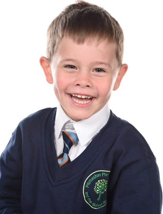 Oscar - pictured before he became ill - was diagnosed with leukaemia on December 28 after his parents noticed bruising on his legs. He was also unusually exhausted over Christmas