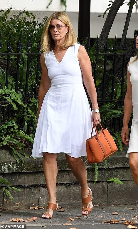 Deborah Hutton wore a fashionable white dress
