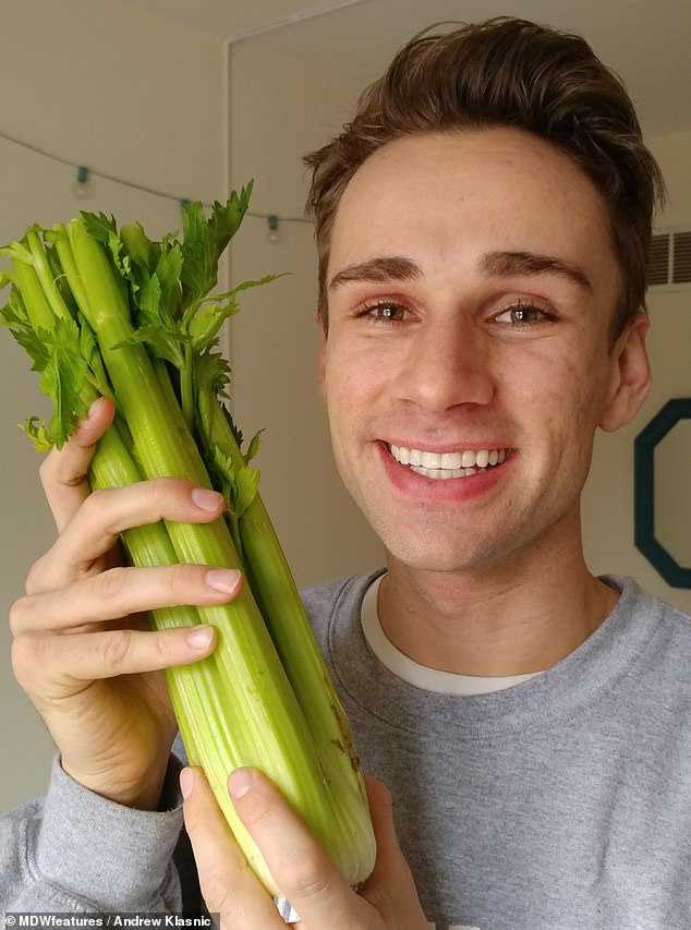 Cure! 26-year-old actorAndrew Klasnic found that abiding by a plant-based diet of celery juice and a raw vegetables helped to cure his severe eczema and acne