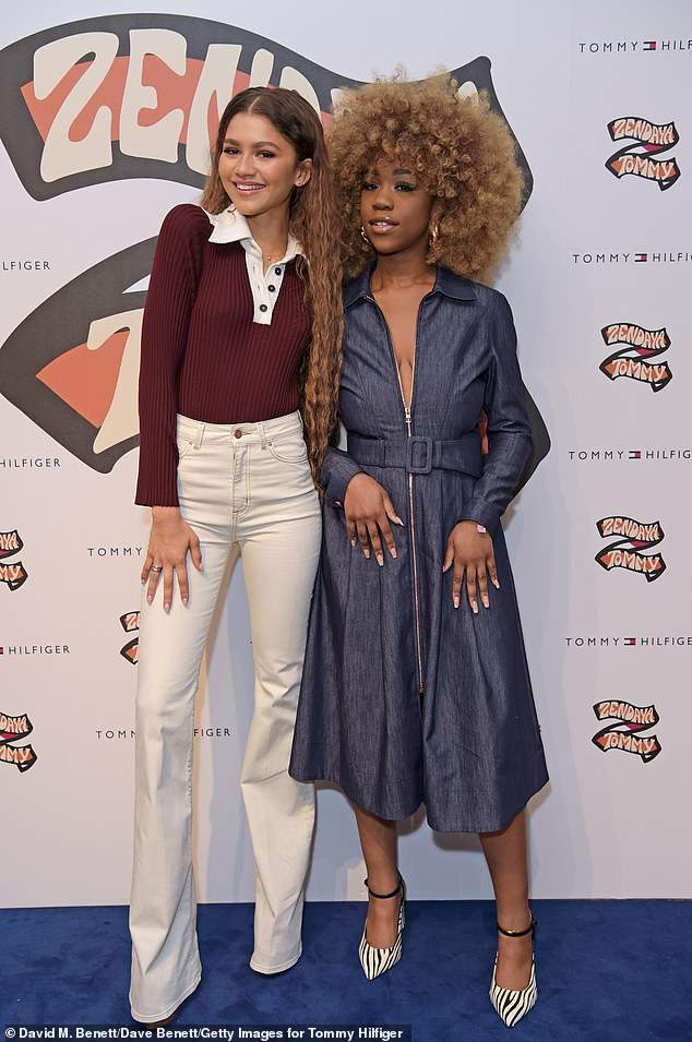 Ms Eggerue pictured with actressZendaya at the launch of her collection for the Tommy Hilfiger show in London earlier this month