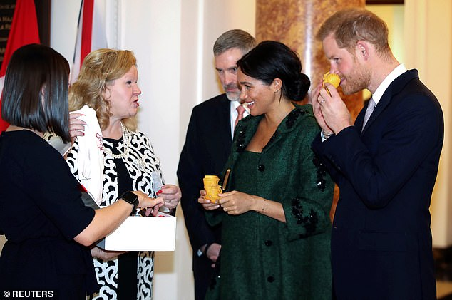 Prince Harry and Meghan received baby gifts from Canadian High Commissioner to the United Kingdom Janice Charette when they attended a Commonwealth Day youth event at Canada House in London earlier today