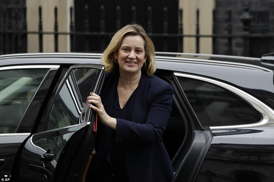 Remainer Work and Pensions Secretary Amber Rudd smiles as she exits her ministerial car in Downing Street