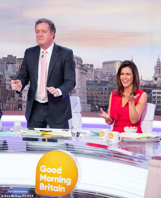 Laughing it off: The presenter struggled to keep a straight face as Piers boogied solo