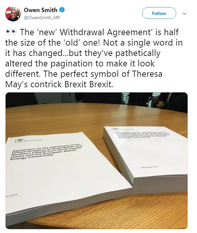 Owen Smith, the Labour MP for Pontypridd, claimed the government had altered the pagination of the altered withdrawal agreement to make it look different