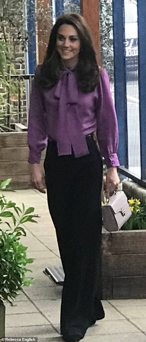 She teamed the new wardrobe purchase with a pair of high waist black trousers by Jigsaw that she previously wore on a visit to Cyprus in December last year.