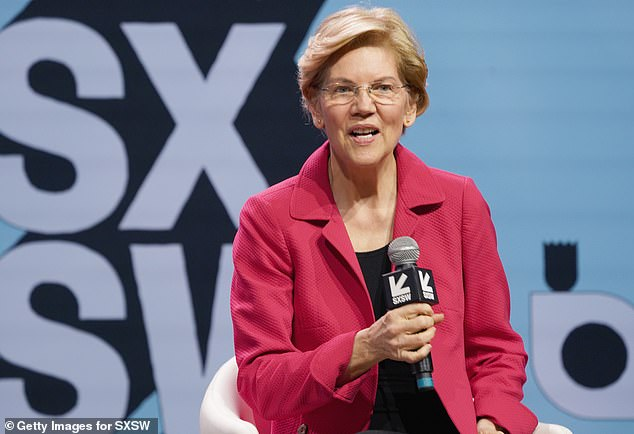 Facebook temporarily removed several ads by senator Elizabeth Warren calling for the break up of large tech companies including the social media giant. Pictured: Warren talking about her tech company proposals on Saturday at the SXSW conference in Austin, Texas