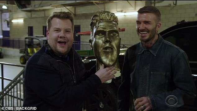 The end: The One Man, Two Guvnors actor ended the clip: 'A huge thanks to David Beckham for being such a great sport!'