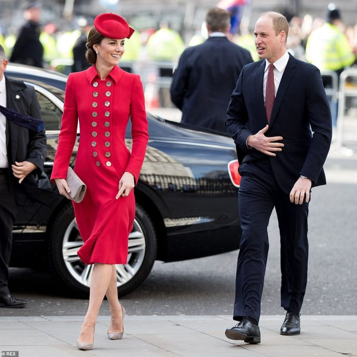 It has already been a busy week for the Duchess. Yesterday she joined the Duke of Cambridge, the Queen and other royals for a special Commonwealth Day service at Westminster Abbey, pictured