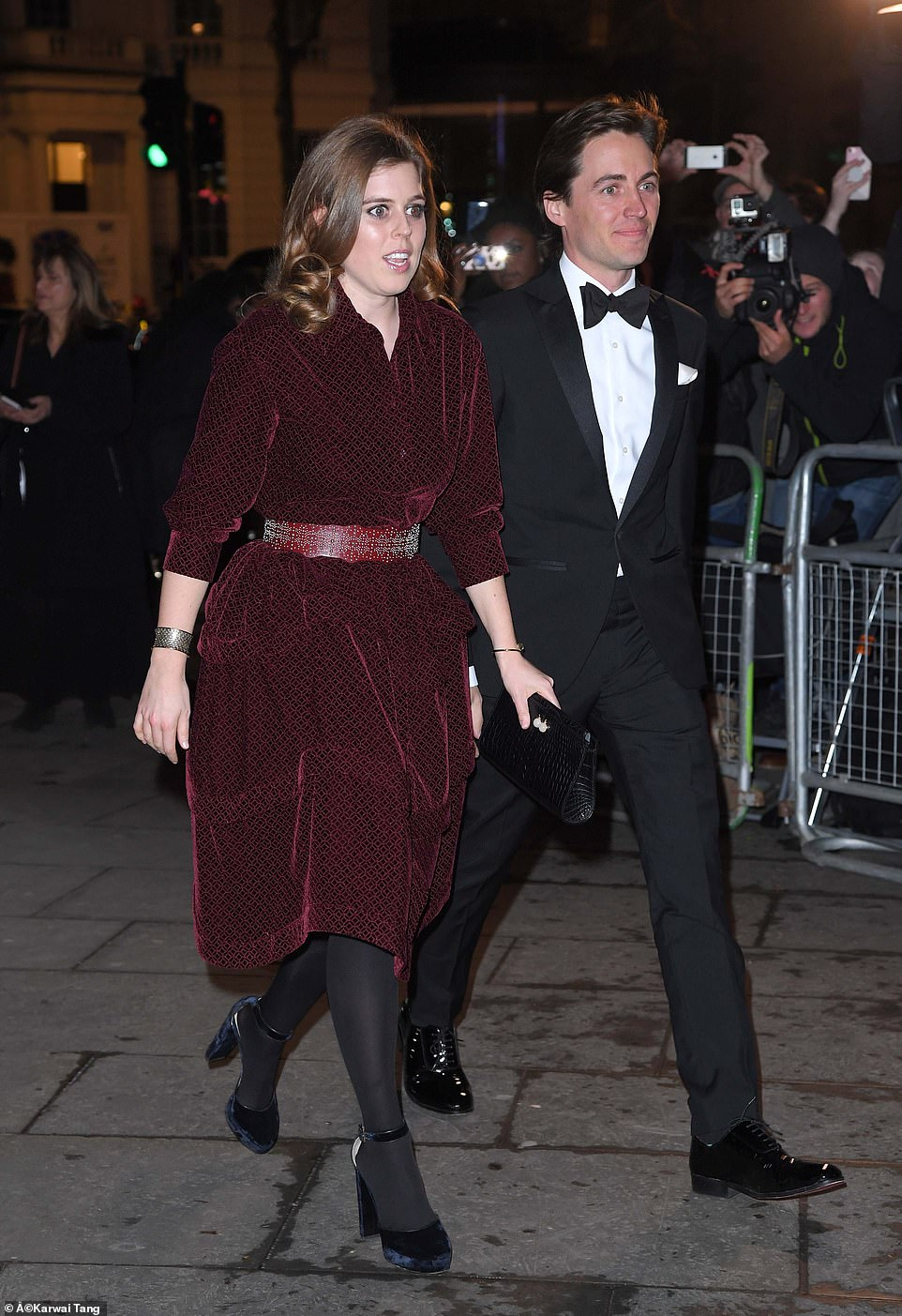 Princess Beatrice made her first official red carpet appearance with property developer boyfriend Edoardo Mapelli Mozzi as the pair joined the Duchess of Cambridge at the National Portrait Gallery on Tuesday evening