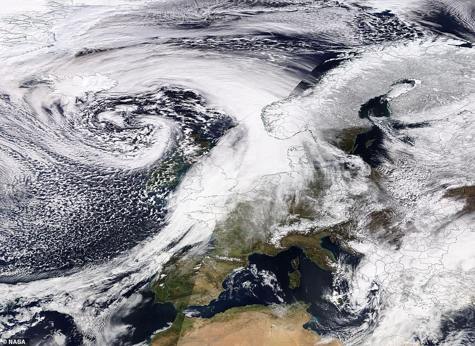 Storm Gareth is bringing gales from Iceland to Spain, shown in this dramatic image from Nasa's Terra satellite
