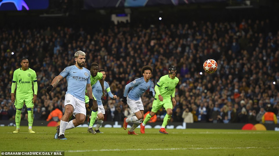 Aguero had opened the scoring by holding his nerve from 12-yards and dinking his penalty effort down the middle of goal