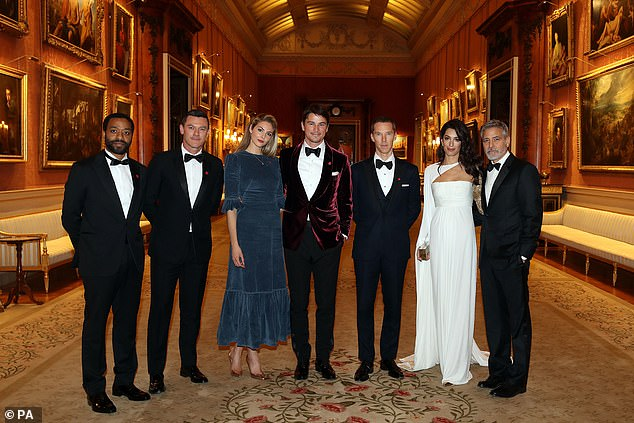 Insiders:The dinner, which welcomed donors, supporters and ambassadors of the charity, also saw appearances from (L-R) Chiwetel Ejiofor, Luke Evans, Benedict Cumberbatch and Amal and George Clooney